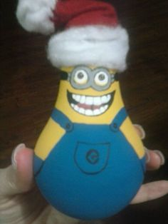 Two-eyed Minion painted light bulb Christmas ornament