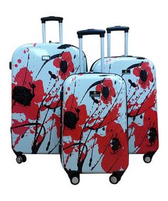 Flower Poly-Carbon Luggage Set