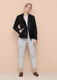 Stitched biker leather jacket -  Plus sizes | Violeta by MANGO USA