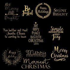 Gold gltter Christmas clip art  tiltles for creating Christmas photo cards, scrapbook layouts, cardmaking, posters, Christmas planner stickers and more. This collection includes 11 png titles in silver, gold, gold metal and black.