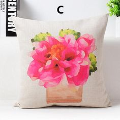 Flower pillow Hand painted Pastoral style linen cushions for couch decoration