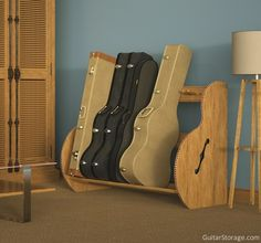 An organized living room thanks to the Studio™ Deluxe #Guitar Case Rack. View details at https://guitarstorage.com/shop/guitar-case-rack-studio-deluxe