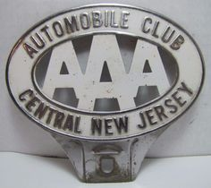 Vintage AAA Automobile Club Central New Jersey License Plate Topper Sign Plaque | eBay