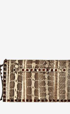 Valentino Cream, Taupe And Brown Clutch   VAUNTE