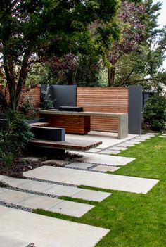 Garden and outdoor of the house plays an essential role in creating the expressions about the house beauty and the owner's care for his place. Outdoor Bbq Kitchen, Outdoor Kitchen Design, Garden Landscape Design, Small Garden Design, Landscape Designs, Outdoor Landscaping, Outdoor Gardens, Garden Yard Ideas, Bbq Area Garden
