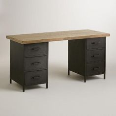 $129 One of my favorite discoveries at WorldMarket.com: Natural Wood and Metal Drawer Colton Mix