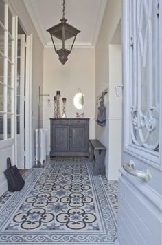 pretty floor | urban cottage | gray tile floor | cement tile | country french