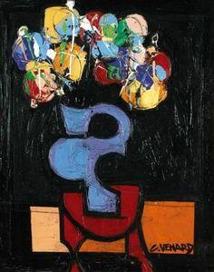 """Claude Venard    """"Flowers in a Black Vase"""""""