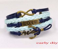 Infinity bracelet love the anchor bracelet nautical by Carlydiy, $4.99