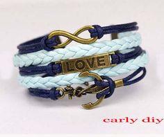 Infinity bracelet love the anchor bracelet nautical by Carlydiy, $4.99