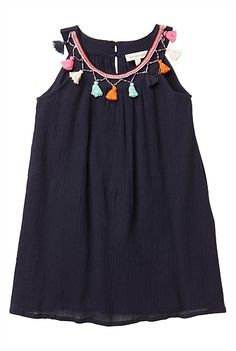 Love this navy Witchery Tasssel Trim Dress, perfect for an active but girly almost 3 year old - forgiving on spills and would look super cute with the orange wedges too http://www.witchery.com.au/shop/kids/girls/671007/Patent-Cork-Wedges.html #witcherywishlist