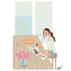 Minjee Kang Illustration Custom order from Ali in Canada Fashion Illustration Portrait