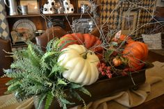 lovely woodsy fall centerpiece - Home Decor Fall Home Decor, Holiday Decor, Fall Arrangements, Autumn Decorating, Thanksgiving Decorations, Thanksgiving Table, Christmas Tables, Holiday Tables, Fall Table