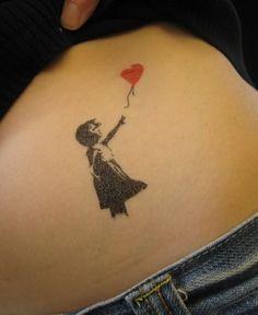 Little Girl with Heart Balloon Graffiti Tattoo