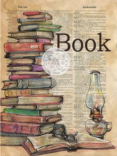Book Mixed Media Drawing on Antique Dictinary Page - - flying shoes art studio