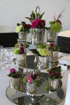 """Brand new for 2012 table centrepiece """"Three Tier Cake Stand"""" with silver Baroque style cups filled with posies of fresh flowers We. Table Centerpieces, Wedding Centerpieces, Wedding Bouquets, Table Decorations, Centrepieces, Boho Wedding, Wedding Reception, Wedding Day, Aubergine Wedding"""