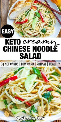 Keto Creamy Chinese Noodle Salad is made with low carb noodles & delicious Asian dressing. Fast and easy, a no-cook, satisfying dinner. Primal, Gluten-free. | Eat Beautiful || #keto #lowcarb #healthyrecipes #noodles #salad #chinese Gluten Free Recipes For Dinner, Primal Recipes, Beef Recipes, Low Carb Recipes, Real Food Recipes, Salad Recipes, Cooking Recipes, Family Recipes, Dinner Recipes