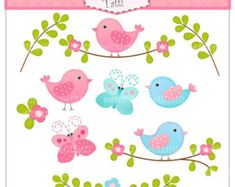 ON SALE Butterfly and flowers Digital clip art pink by petittatti