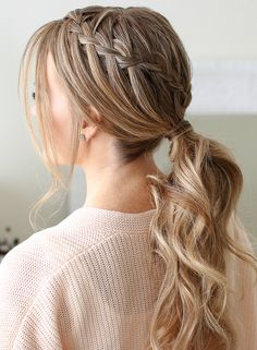 Double waterfall braid ponytail.