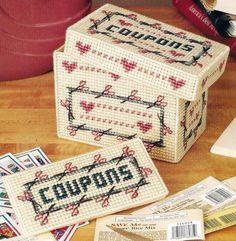 Plastic Canvas Pattern Coupon Keepers Outstanding Plastic Canvas Books, Plastic Canvas Crafts, Plastic Canvas Patterns, Tissue Box Covers, Tissue Boxes, Needlepoint Patterns, Cross Stitch Patterns, Yarn Crafts, Diy Crafts