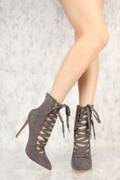 Grey Strappy Lace Up Pointy Toe Single Sole Booties Faux Suede Cute Heels, Lace Up Heels, High Heels, Cute Ankle Boots, Black Booties, Women's Booties, Club Shoes, Peep Toe Wedges, Cheap Shoes