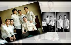 layouts for wedding album | the groom with his parents and grooms men