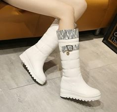 Winter Flat Platform Shoes Fur Lined Knee High Boots Womens Snow Boots C331