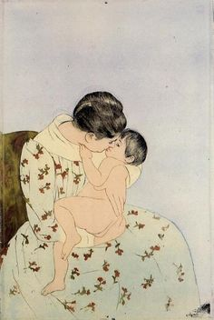 The Kiss, 1891, aquatint-drypoint,  The Art Institute of Chicago, Impressionism-Japonism. Mary Cassat (1844-1926).