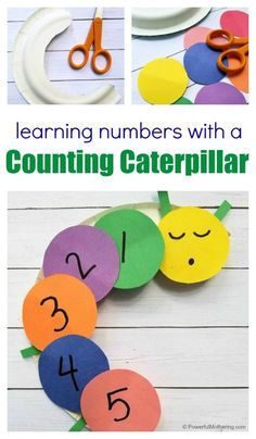 Learning Numbers with a Counting Caterpillar Craft for Kids Learning Numbers for Toddlers Learning Numbers Preschool, Numbers Kindergarten, Toddler Learning Activities, Kids Learning, Preschool Number Crafts, Teaching Numbers, Kindergarten Crafts, Learning Tools, Teaching Math