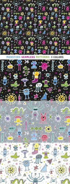Monsters Seamless Patterns — Vector EPS #tileable #characters • Available here → https://graphicriver.net/item/monsters-seamless-patterns/2826505?ref=pxcr