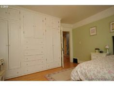 Amazing built-in wardrobe in bedroom of 1913 home in Irvington, Portland, OR.