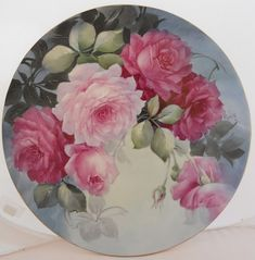 I loved a porcelain artist named Jerry Bolton who created the most beautiful roses. Her art was amazing! China Painting, Ceramic Painting, Vintage Flowers, Vintage Floral, Decoupage Printables, Hand Painted Plates, Decorative Plates, Rose Art, Arte Floral