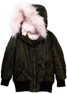 DKNY Faux Shearling & Faux Fur Coat (Big Girls)