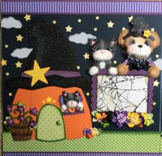 HALLOWEEN-Tear-Bear-Paper-Piecing-Premade-Page-Layout-Album-ELITE4U-3paperwishes