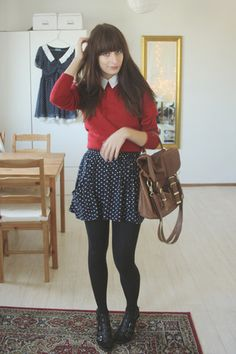 fashion, style, skirt, red jumper, collar, dark hair, fringe