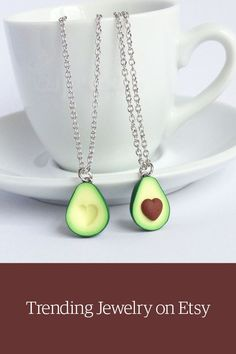 Avocado bff friendship necklace. Shop unique jewelry on Etsy.