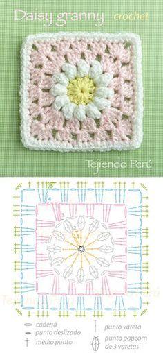 Discover thousands of images about Daisy granny square pattern (diagram)! Cuadrado con flor de margarita tejido a crochet (incluye diagrama)! Crochet Motifs, Crochet Blocks, Granny Square Crochet Pattern, Crochet Mandala, Crochet Diagram, Crochet Chart, Crochet Squares, Crochet Granny, Crochet Flowers