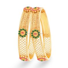 Latest Gold Kangan Designs with Price and Weight Details, Gold Bangle Designs with Price and Weight. Gold Bangles Design, Gold Jewellery Design, Gold Jewelry, Antique Jewellery, Designer Bangles, Bridal Jewelry, Jewelry Necklaces, Silver Bracelets, Bangle Bracelets