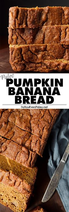 Paleo Pumpkin Banana Bread recipe - a combination of two popular quick breads! This healthy recipe is gluten free, paleo, clean eating, and vegetarian. Perfect for breakfast or a snack! Quick Banana Bread, Pumpkin Banana Bread, Banana Bread Recipes, Paleo Pumkin Bread, Paleo Pumpkin Muffins, Paleo Banana Bread, Paleo Bread, Paleo Vegan, Quick Bread