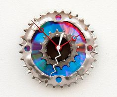 Clock made from a chainring, 2 cassette gears and a DVD - by pixelthis, $37 on Etsy