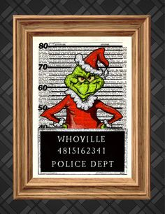 Dictionary Art Print - The Grinch Mugshot, Christmas Print - Up-cycled Antique Book Art Page, Wall Decor, Wall Art , Mixed Media Collage on Etsy, $8.27