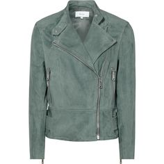 SUEDE BIKER JACKET ($745) ❤ liked on Polyvore featuring outerwear, jackets, suede biker jacket, green jacket, suede jacket, suede moto jacket and green suede jacket