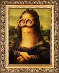 Minion Mona Lisa by: Leonardo da Vinci, model: Kevin. Image Minions, Minions Images, Minion Pictures, New Movie Posters, Cartoon Posters, Book Posters, Monnalisa Kids, Minion Humour, Art Ninja
