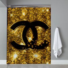 chanel glitter gold Shower Curtain