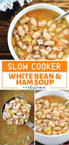 Slow Cooker White Bean & Ham Soup The best crockpot bean soup perfect for the cold weather! Slow Cooker White Bean & Ham Soup is a hearty winter recipe that's great for using up leftover holiday ham. Save this comfort food soup recipe for dinner! White Bean Ham Soup, White Beans And Ham, Ham And Bean Soup, Healthy Slow Cooker, Slow Cooker Soup, Slow Cooker Recipes, Crockpot Recipes, White Bean Recipes, Bean Soup Recipes