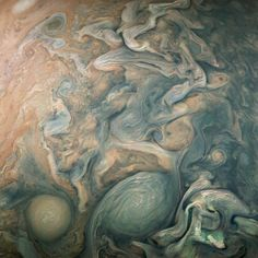 Near Jupiter's poles, the patterns of storms are especially wild.