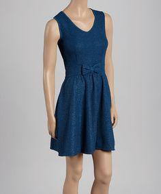 Look at this #zulilyfind! Blue Bow Skater Dress #zulilyfinds