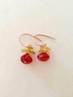 Red Orange quartz Citrine earrings Lilyb444 jewelry