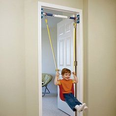 Indoor swing is awesome on rainy days, toddlers will enjoy swinging while trying to get the rhythm in their legs and body to keep the swing going.