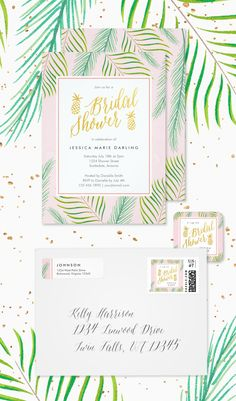Tropical Bridal Shower invitations in green, gold and pink. Palm fronds and gold pineapples are fun and elegant! Perfect for tropical, Hawaii and luau themed bridal showers.